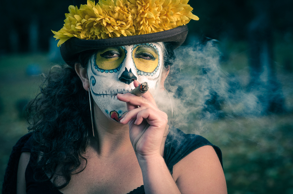 Veronica Montes poses for a day of the dead themed shoot.