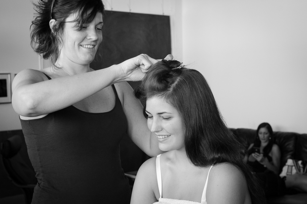 Morgan getting pampered with hair and makeup by Carrie Strahe.