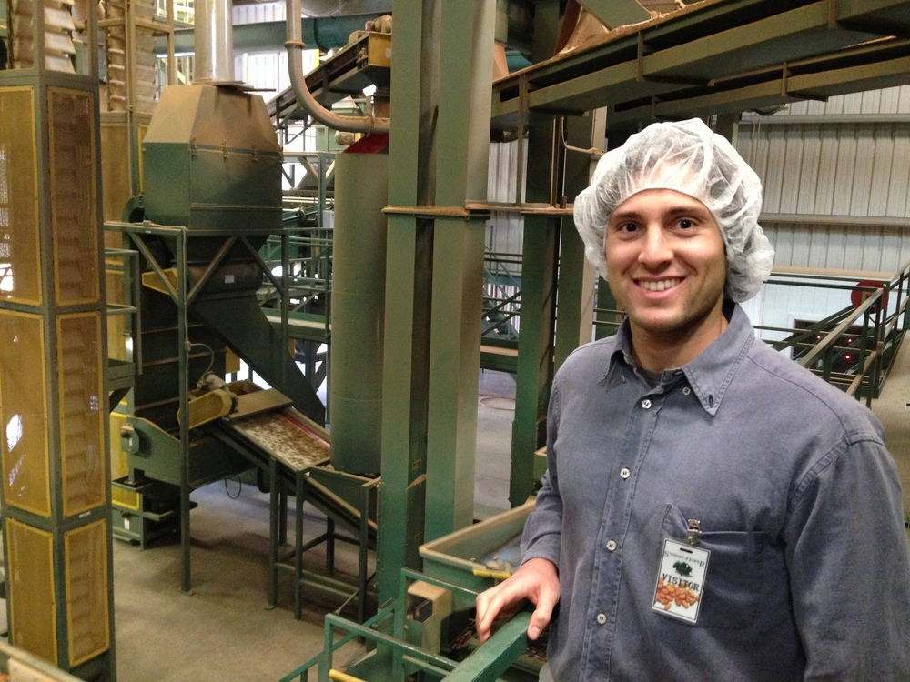 At the almond facility