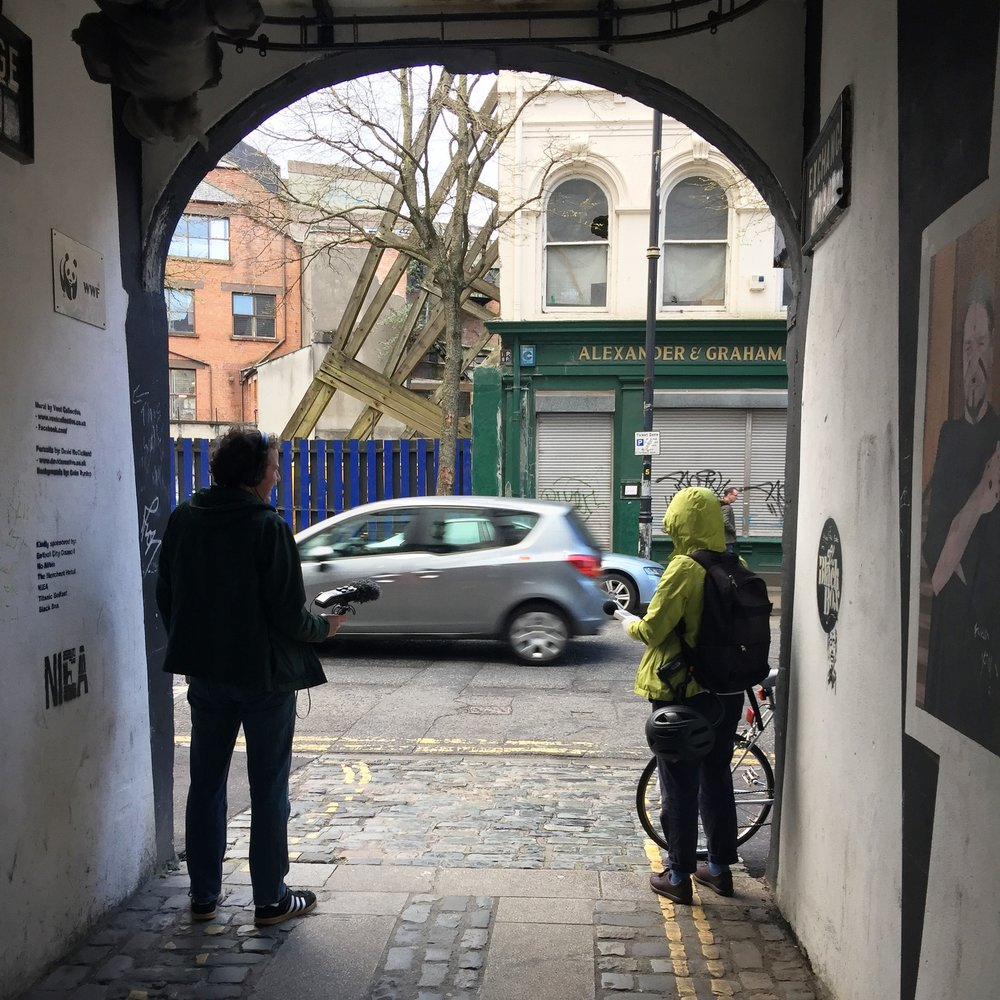 Taking sound measurements and recordings in the Cathedral Quarter, Belfast