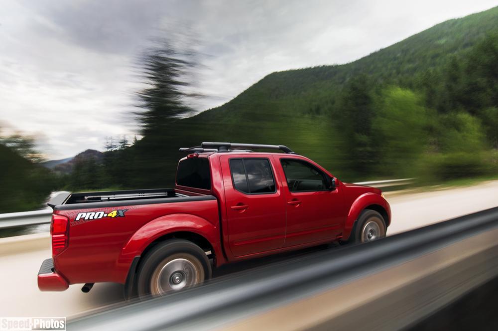 Nissan Frontier PRO-4X bridge rig shot.