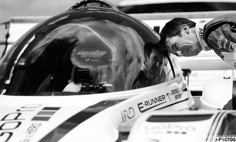 RomainDumas checking out Monster Tajima's race car.