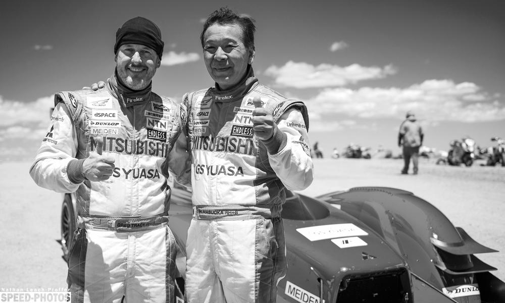 Team Mitsubishi after finishing the 2014 Pikes Peak International Hill Climb - Greg Tracy & HiroshiMasuoka - speed-photos.com