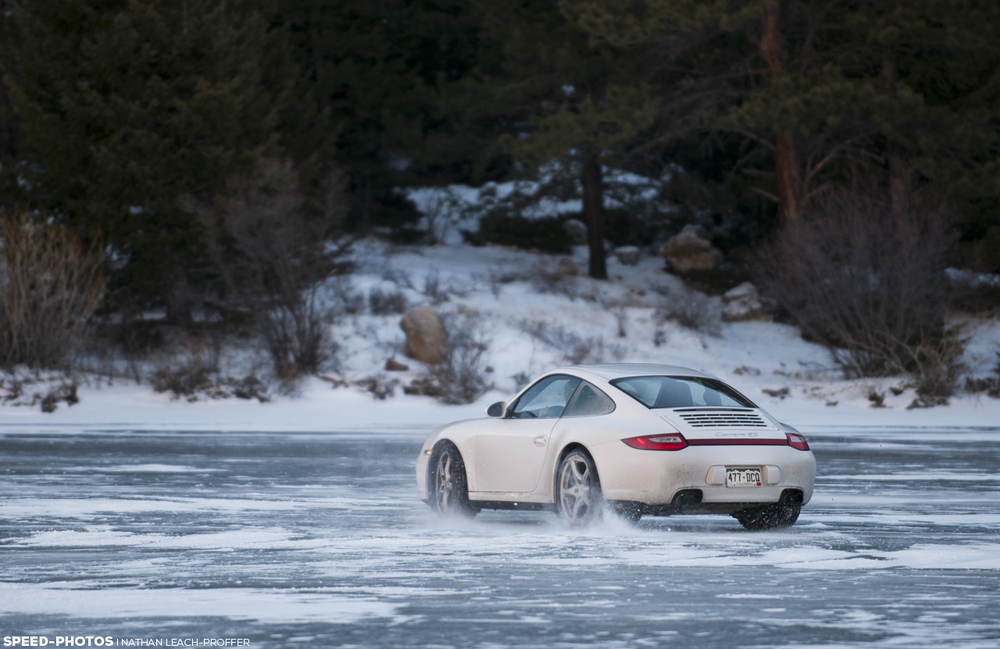 Porsche drifting on ice.