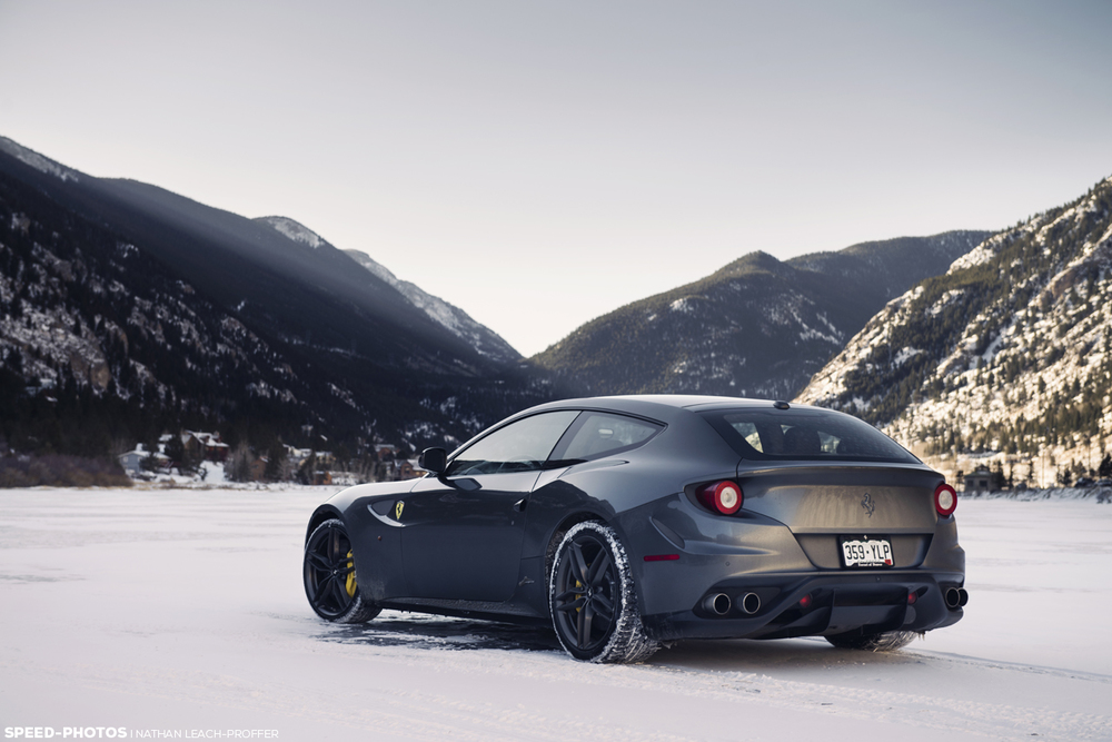 Ferrari FF on a frozen lake in colorado