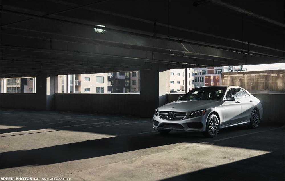 Mercedes-Benz C300 4MATIC parking garage.