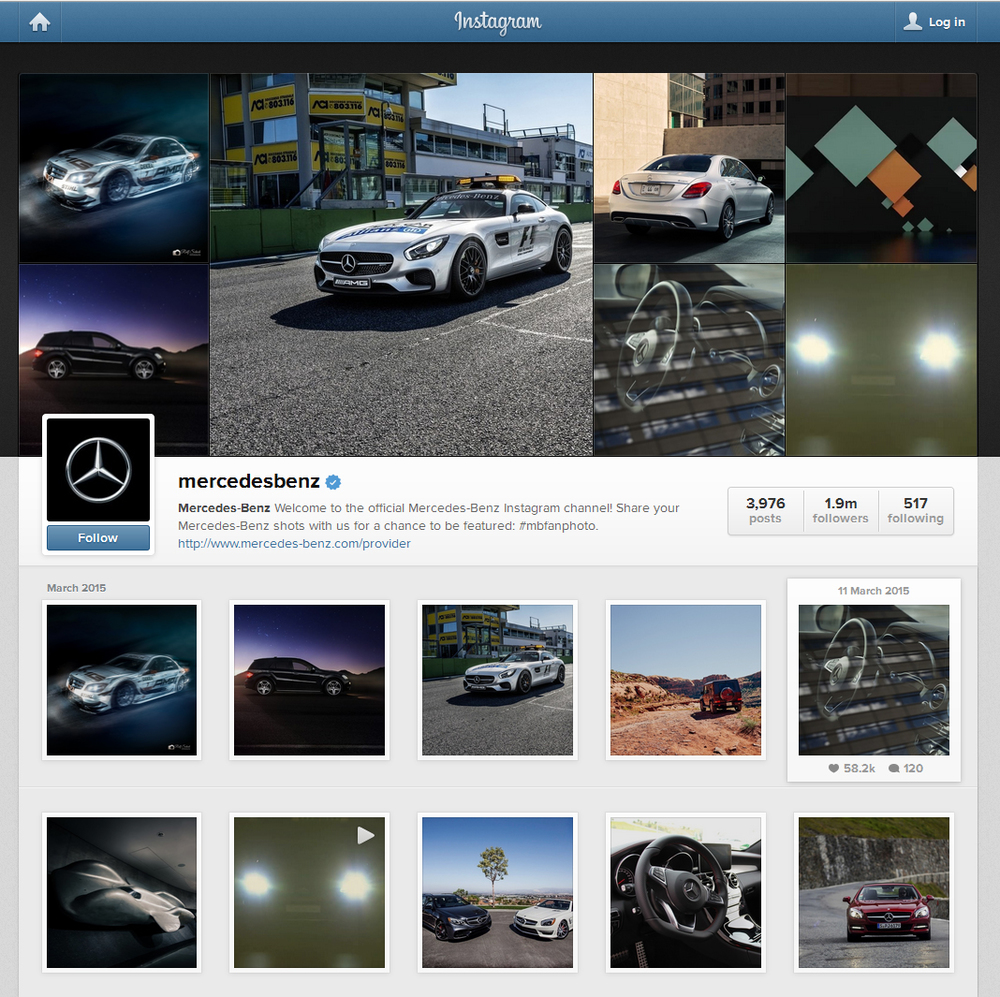 mercedes instagram web