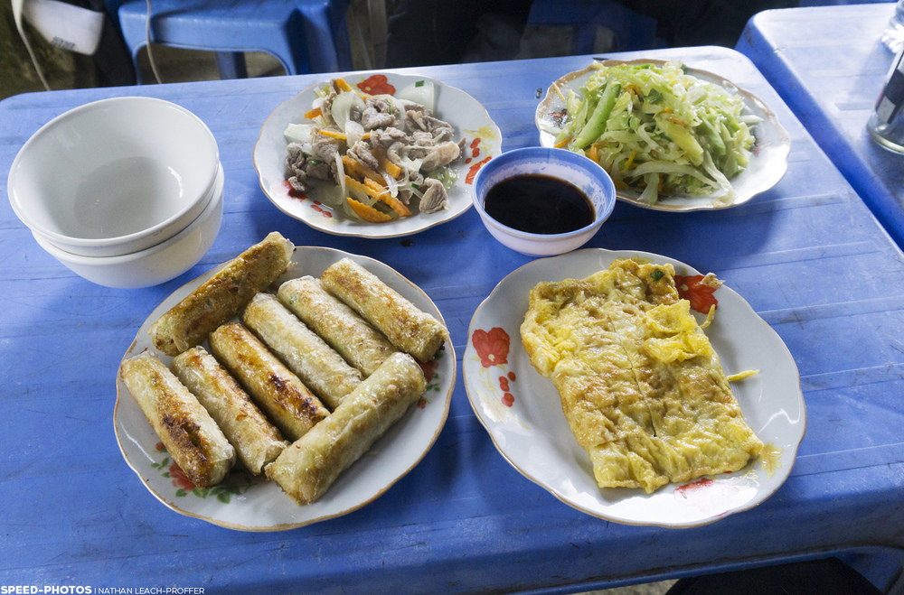 We stopped for lunch while walking in the rice paddies. These were among my favorite springs rolls on the trip.