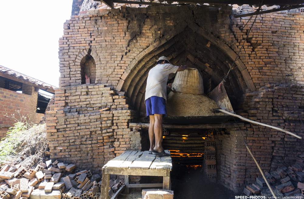 After drying some, they were loaded into giant kilns. They would heat them by burning rice husk they bought from farmers. After the process was complete, they would sell back the burnt husk so that farmers could use it as fertilizer.