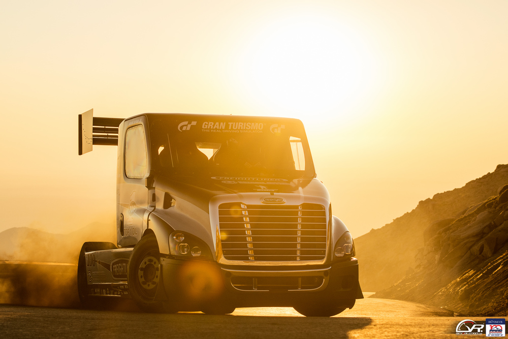 Mike Ryan in his awesome Freightliner Cascadia Pikes Peak Special.