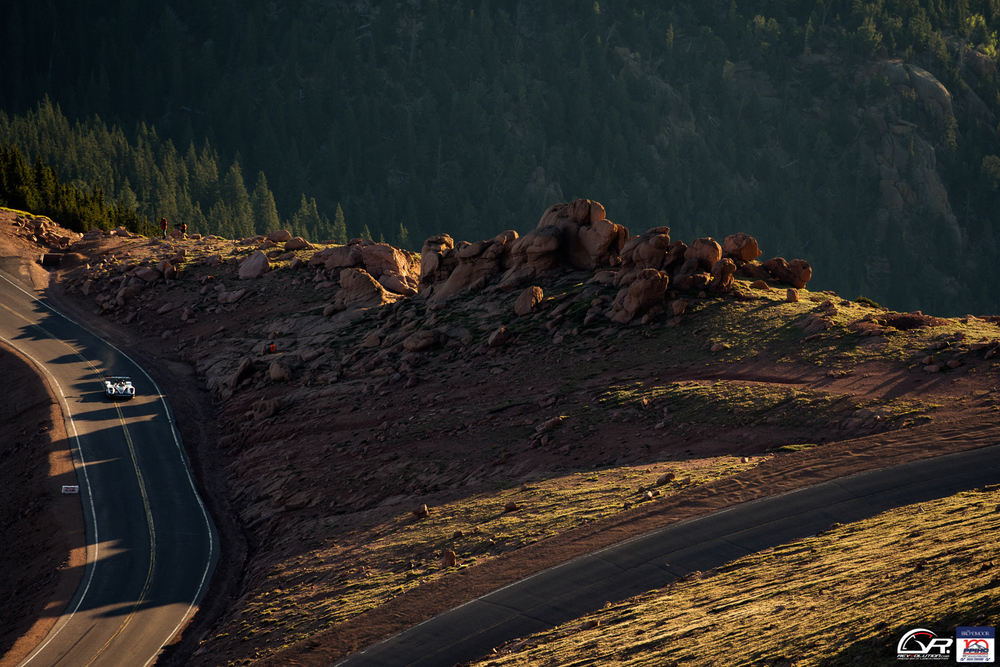 Rhys Millen in and out of the shadows at the 100 Anniversary Pikes Peak International Hill Climb