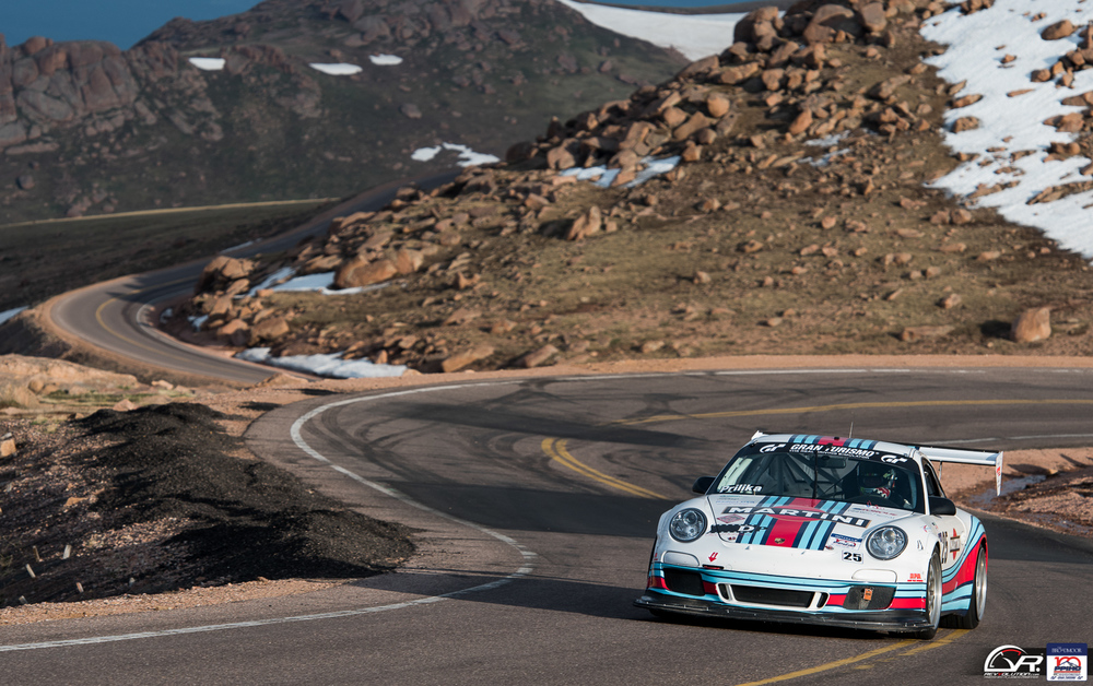 Martini racing Porsche at the 100 Anniversary Pikes Peak International Hill Climb