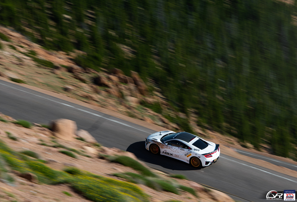 Acura NSX panning shot at the 100 Anniversary Pikes Peak International Hill Climb