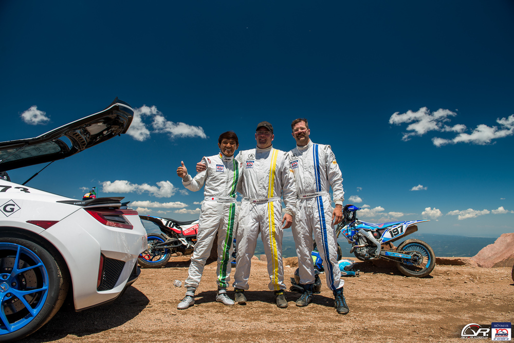 Team Acura NSX drivers at the summit at the 100 Anniversary Pikes Peak International Hill Climb.