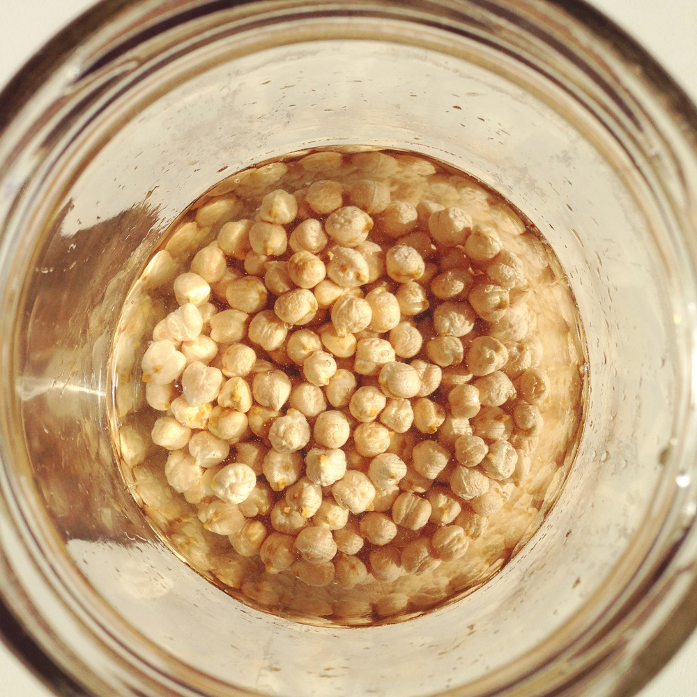 Pop some dried chickpeas in a bowl or jar and cover with 3 times as much filtered water + a teaspoon of salt. If you have fresh whey add that in too as whey will help break down the anti-nutrients even more.