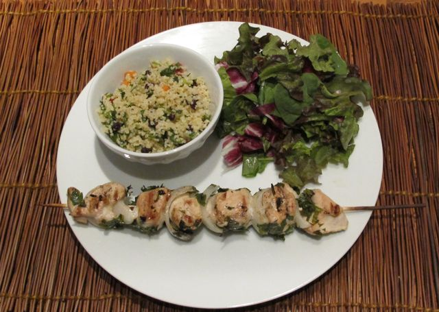 easy recipe for chicken shish kebab, chicken with cous cous, recipe for parties