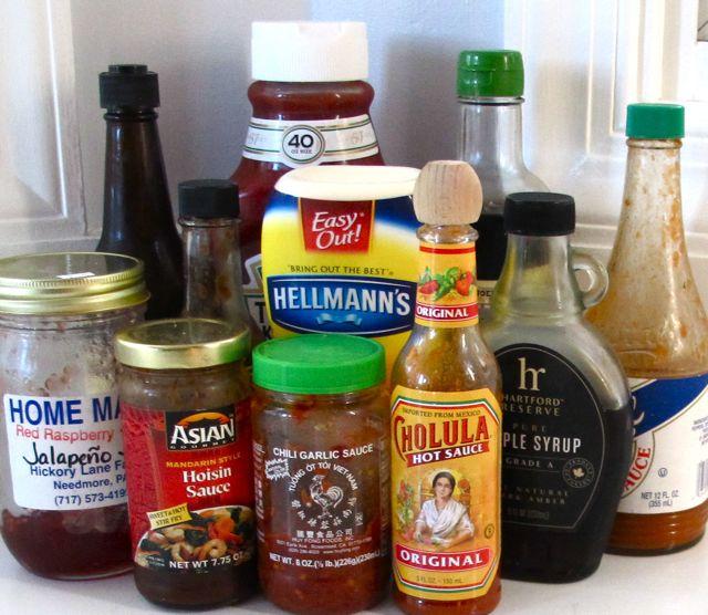 condiments, ketchup, mayonnaise, soy sauce, chili sauce, sriracha, hoisin sauce, jam, worcestershire maple syrup