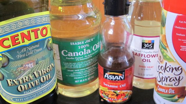 oils for cooking, olive oil, canola oil, sesame oil, safflower oil, cooking spray