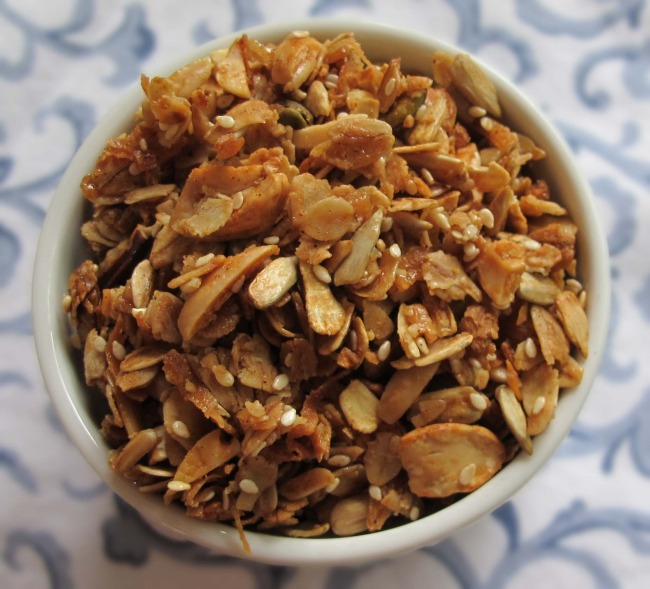 granola in ramekin ready to eat