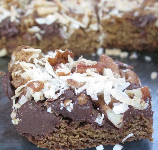 chocolate coconut pecan bars