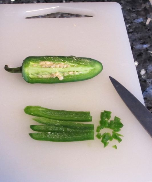 Chopped Jalapenos Cut the remaining hollowed