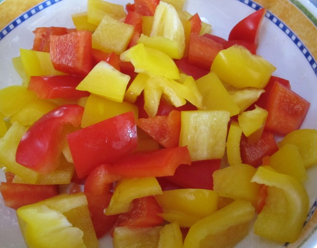 add chopped peppers to ratatouille