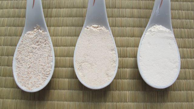whole wheat flour, white whole wheat flour, and processed white flour