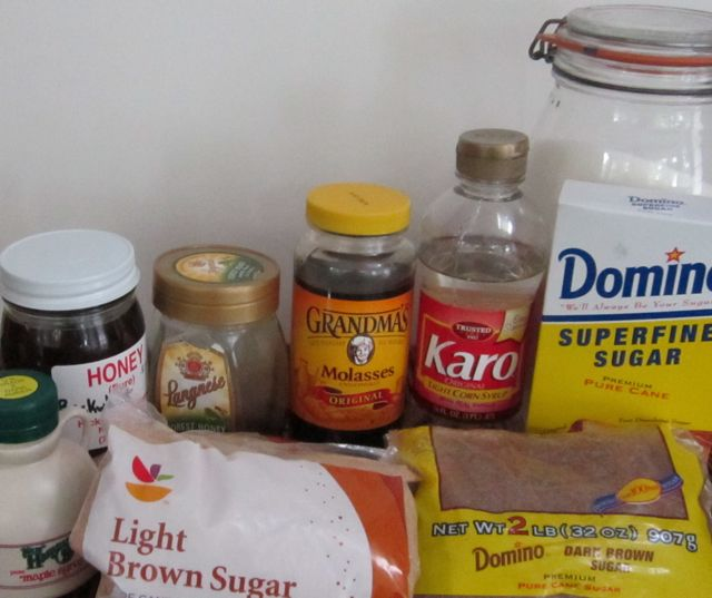 different sweeteners, sugar, corn syrup, honey, maple syrup
