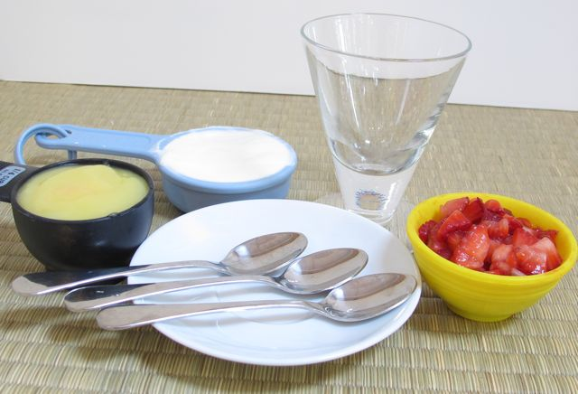 strawberry, parfait, ingredients, yogurt, lemon curd, strawberries