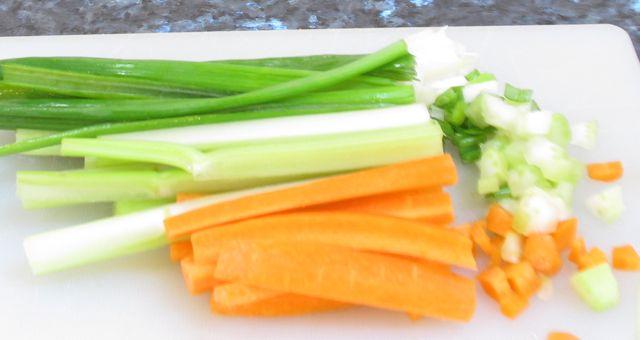 cous cous, couscous, carrot, celery, scallions, green onions