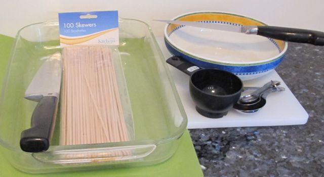 equipment for making chicken shish kebab, skewers, bamboo skewers