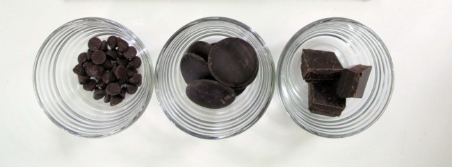 chocolate chips, chocolate pieces and chocolate squares in a taste test