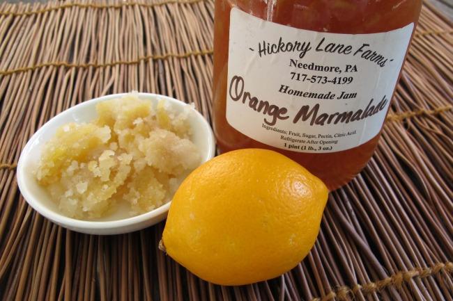 jam, Meyer lemon and crystallized or candied ginger for filling shortbread tart