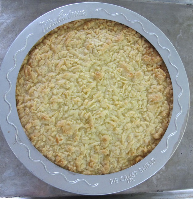 shortbread tart out of oven
