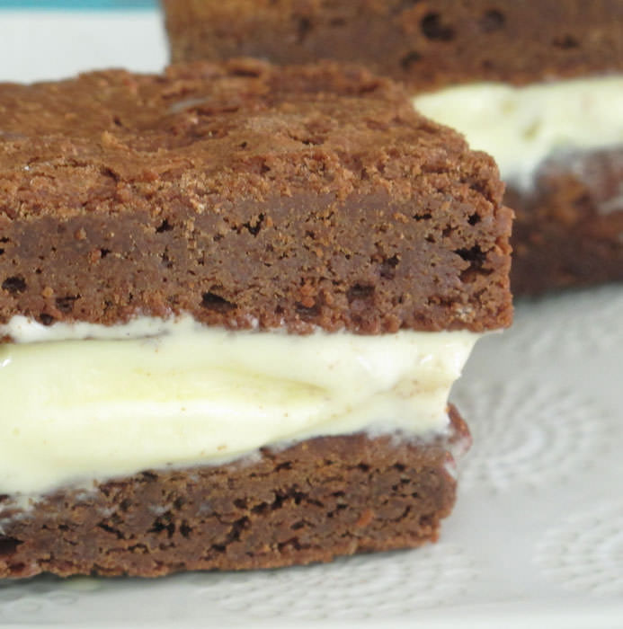 chocolate brownie sandwich with ginger ice cream