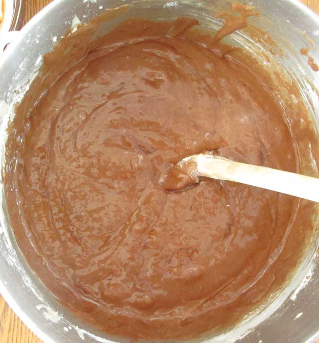 brownie batter ready to go into pan