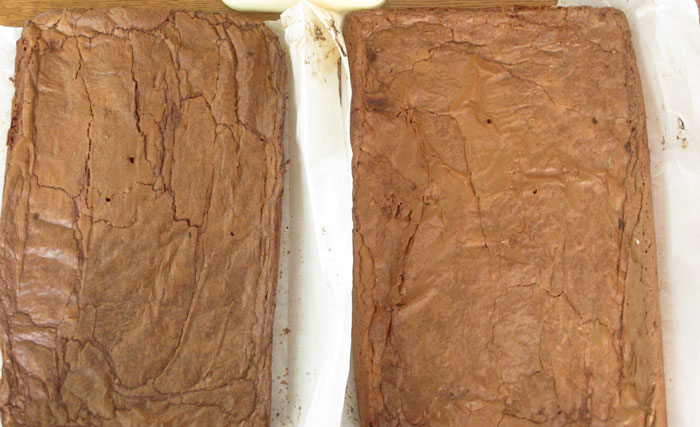 taking brownie layers out of pan for ice cream sandwiches