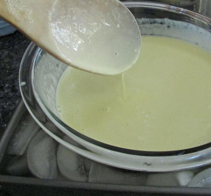cooling ginger ice cream custard base before churning ice cream