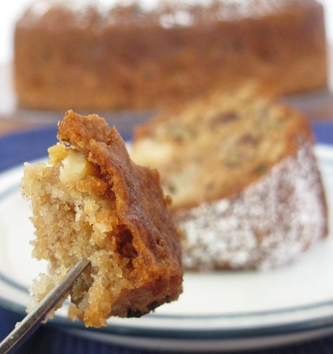 apple cake on fork