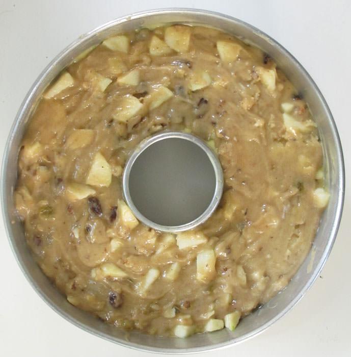 apple cake in bundt pan before baking