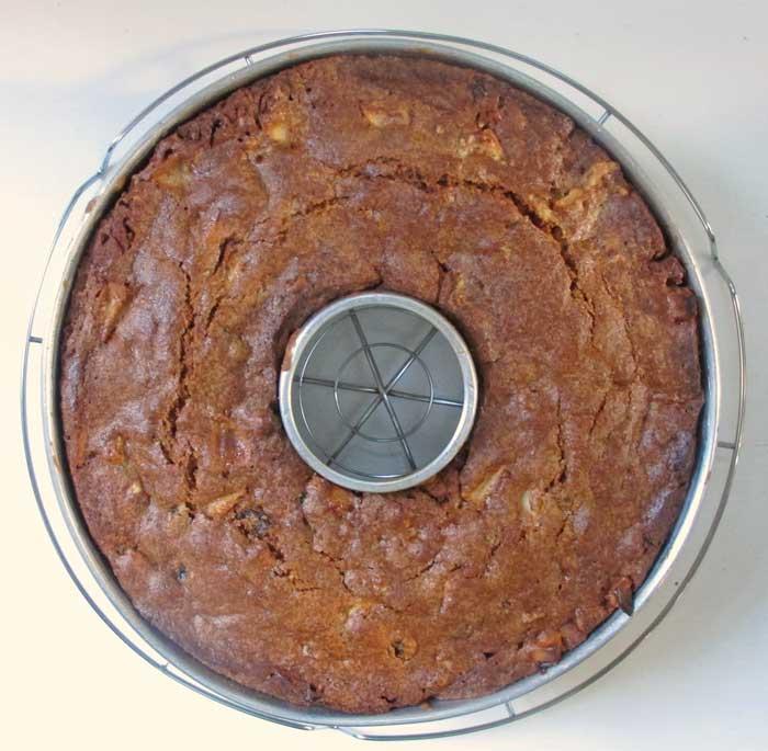 baked apple cake in bundt pan