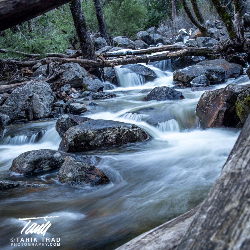Long exposure of Bridalveil Creek just below Bridalveil Fall. Click to view larger image.