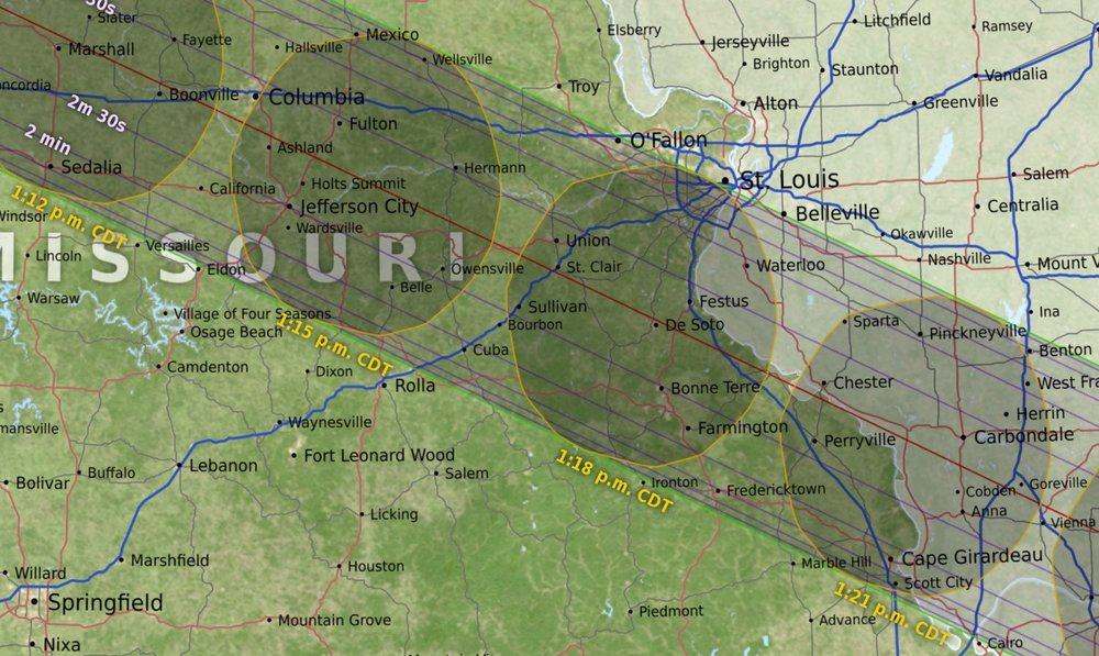 Areas of totality within three-hour radius of St. Louis (gray band)