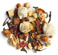 A dramatic blend of green tea, apple and yes you see it real popcorn.