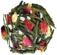 Japanese Sencha tea blended with strawberries, lychee fruit, jasmine blossoms, rose petals. and vanilla.