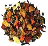 Sweet-as-candy a smokey green tea paired with watermelon seeds, apples, rosehips, hibiscus, pomegranate, lime leaves + pieces, basil, and the spice of cracked tellicherry peppercorns.