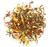 A sweet blend of organic green and red rooibos, safflowers, calendula marigold a natural caramel flavour
