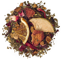 A sassy blend of apple, hibiscus, licorice root, sweet blackberry leaves, orange, strawberry and raspberry.