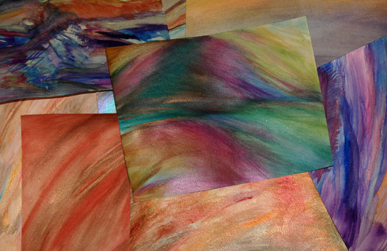 The pile of my first ever abstract watercolor paintings