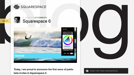 Screenshot from the Squarespace V6 blog post video trailer
